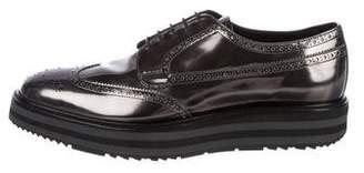 Prada Leather Wingtip Derby Shoes