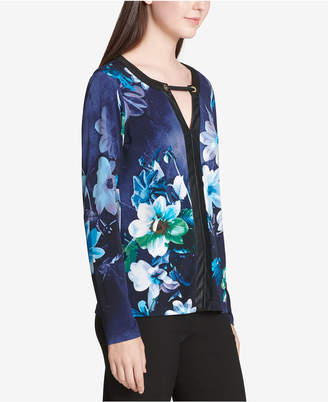 Calvin Klein Printed Faux-Leather Trim Blouse