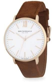 Bruno Magli Stainless Steel and Rose Gold Ion Plated Leather Strap Watch