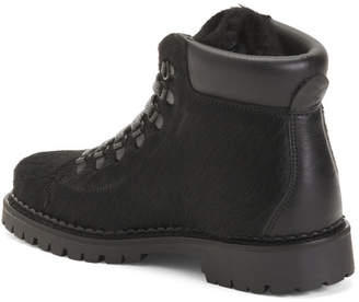 Made In Italy Leather Trim Winter Boots