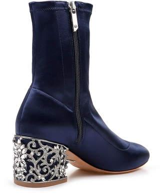 Badgley Mischka Martine Sock Boots with Embellished Heel