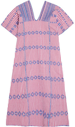 Pippa Holt - Embroidered Striped Cotton Kaftan - Pink $790 thestylecure.com
