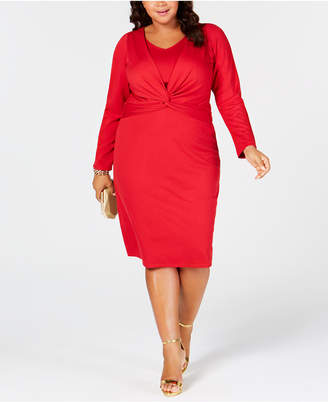 Taylor Plus Size Twisted-Front Sheath Dress