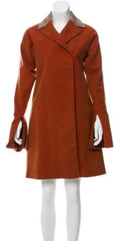 Fendi Leather-Trimmed Silk-Blend Coat