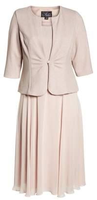 Alex Evenings Glitter Tea Length A-Line Dress with Jacket