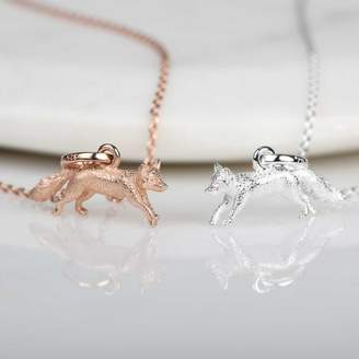 Nest Stunning Silver And Rose Gold Fox Pendant