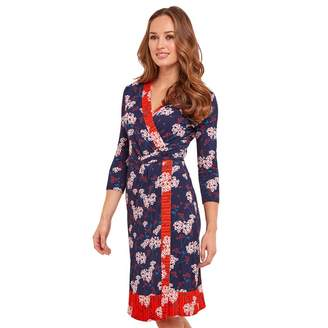 Joe Browns Multi Coloured Floral Print Jersey 'Nautical' V-Neck Knee Length Wrap Dress