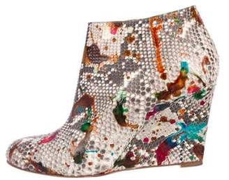 Christian Louboutin Python Round-Toe Wedge Ankle Boots