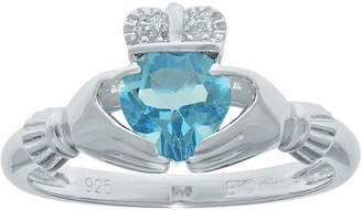 JCPenney FINE JEWELRY Heart-Shaped Genuine Blue Topaz and Diamond-Accent Sterling Silver Claddagh Ring