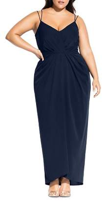 City Chic Plus Luciana Pleated Gown