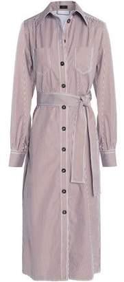 Joseph Belted Striped Cotton-Poplin Shirt Dress