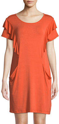 Neiman Marcus Ruffle-Trim T-Shirt Dress