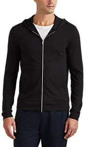 Theory MEN'S COSMOS COTTON ZIP-FRONT HOODIE - BLACK SIZE S