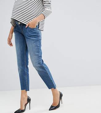 Asos KIMMI Shrunken Boyfriend Jeans in Blake Vintage Darkwash and Stepped Hem with Over the Bump Waistband