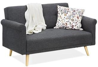 Furinno Retro Vintage Loveseat Sofa, Dark Grey SF809N3DGY