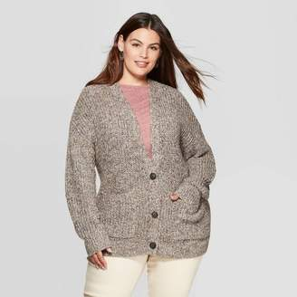 Universal Thread Women's Plus Size Long Sleeve V-Neck Grandpa Cardigan - Universal ThreadTM Gray