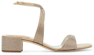 Rene Caovilla Krisabrita Crystal-embellished Metallic Leather Sandals - Gold