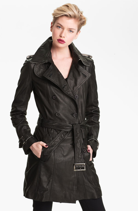 Bod & Christensen Double Breasted Leather Trench Coat