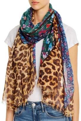 Aqua Floral & Leopard Print Scarf - 100% Exclusive
