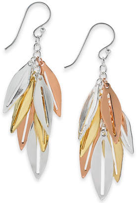 Essentials Large Silver Plated Leaf Shaky Drop Earrings in Tri-Tone Mixed Metal