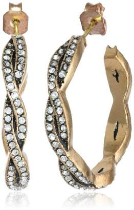 "Azaara Crystal"" Petite Woven Hoop Earrings"