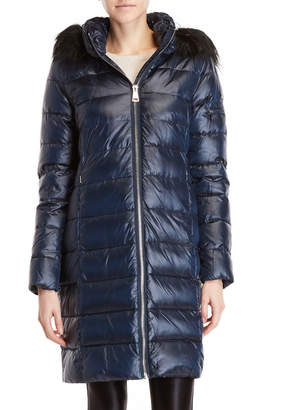 DKNY Faux Fur-Trim Hooded Longline Down Coat