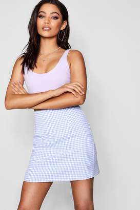 boohoo Faith Pastel Gingham Check Woven Mini Skirt