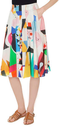 Akris Wooden-Doll Print Pleated A-Line Cotton Voile Skirt
