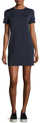 Helmut Lang Short-Sleeve Neoprene Shift Dress, Navy $395 thestylecure.com