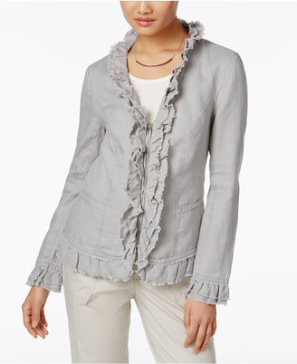 Inc International Concepts Linen Ruffled Jacket, Created for Macy's $79.50 thestylecure.com