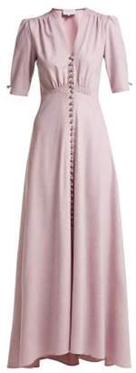 Luisa Beccaria Wool Blend V Neck Button Down Tea Gown - Womens - Light Pink