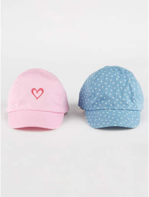 George Heart Print Caps 2 Pack