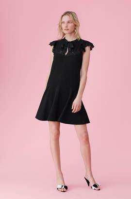 Crepe & Lace Tie Neck Dress