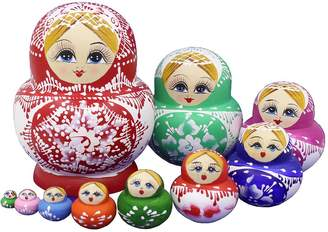 Winterworm Set of 10 Big Bulky Colorful Red Porcelain Basswood Wooden Traditional Russian Nesting Dolls Matryoshka Kids Stacking Toys Christmas Birthday Festival Gifts