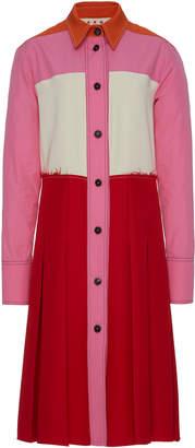 Marni Pleated Color Block Crepe Midi Dress Size: 38