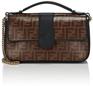 "Fendi Women's ""Double F"" Coated Canvas & Leather Shoulder Bag"
