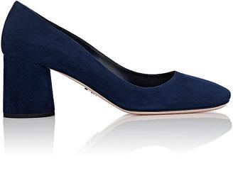 Prada Women's Suede Square-Toe Pumps $650 thestylecure.com