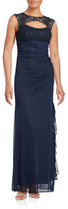 Betsy & Adam Lace-Trimmed Ruched Gown $139 thestylecure.com