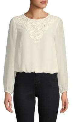 Nanette Lepore Crochet-Trimmed Long-Sleeve Top