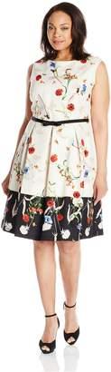 Julian Taylor Women's Plus Size Floral Printed Dress with Belt