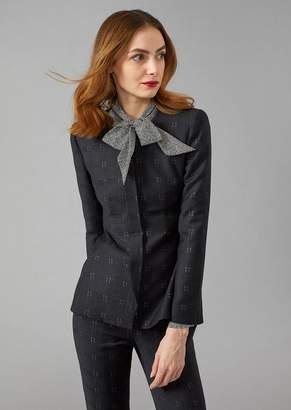 Giorgio Armani Tartan Pattern Wool Blend Jacket