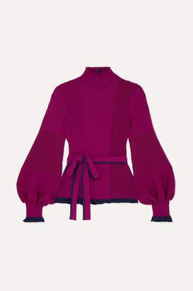 Roksanda Auric Belted Ribbed Merino Wool Sweater - Magenta