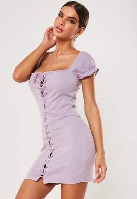 Missguided Lilac Rib Cap Sleeve Lace Up Mini Dress, Lilac
