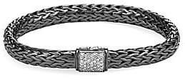 John Hardy Classic Chain Black Rhodium-Plated Sterling Silver & Diamond Medium Bracelet