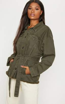 PrettyLittleThing Khaki Tie Waist Oversized Denim Jacket