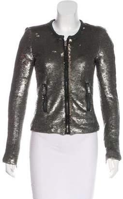 IRO Leather-Trimmed Metallic Jacket