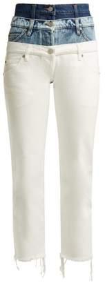 Natasha Zinko Tripple Waistband Slim Fit Cotton Jeans - Womens - White