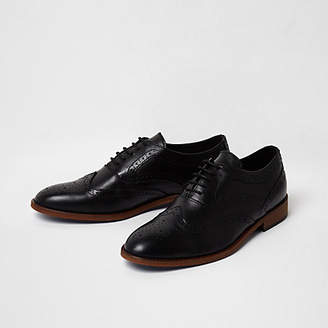 River Island Black leather lace-up brogue oxford shoes