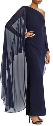 Ralph Lauren One-Shoulder Overlay Gown