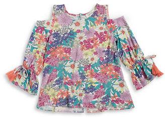Jessica Simpson Girls 7-16 Girls Cold Shoulder Floral Top $39.50 thestylecure.com